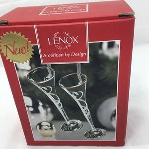 Lenox 2015 Toasting Flutes Glass Hanging Ornament